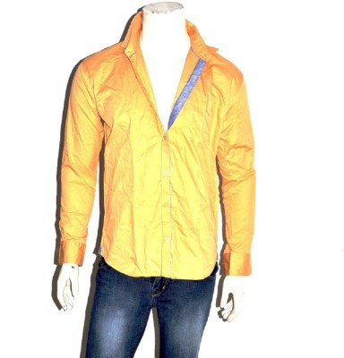 Indian Touch Men,s Solid Casual Orange Shirt