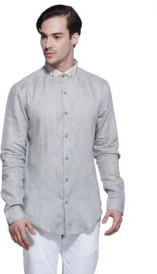 Karsci Men's Solid Lounge Wear Linen Grey Shirt