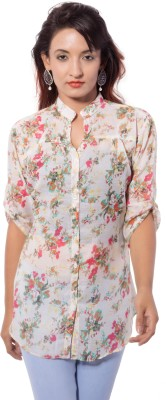 Jupi Women's Floral Print Casual White, Pink, Red, Green Shirt