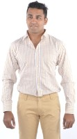 Bl_nk Formal Shirts (Men's) - BL_NK Men's Checkered Formal Yellow Shirt