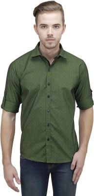 Unixx Men's Printed Casual Green Shirt