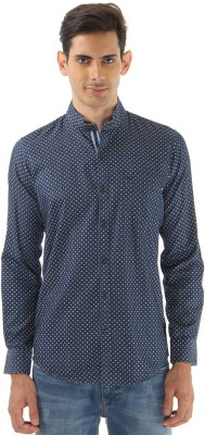 Monte Carlo Men's Printed Casual Blue Shirt