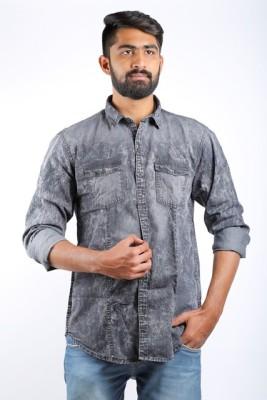 Cortos Men's Self Design Casual Denim Black Shirt