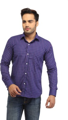 Pede Milan Men's Checkered Casual Purple Shirt