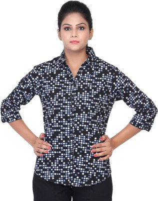 Estella Fashion Women's Polka Print Casual Black Shirt