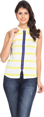 Northern Lights Women's Striped Casual White, Yellow Shirt
