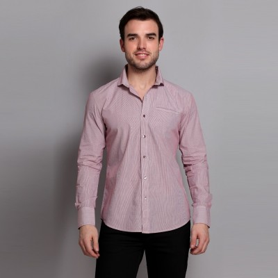 Colormode Men's Striped Formal Pink Shirt