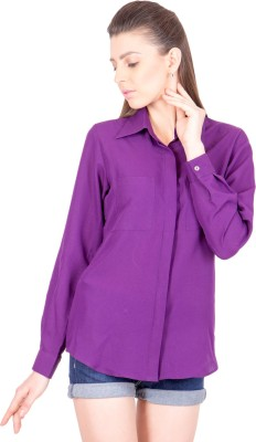 Crosstitch Women's Solid Party Purple Shirt