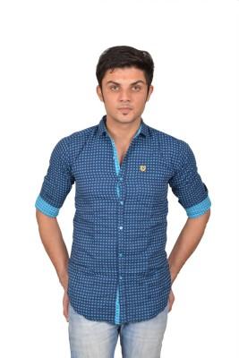 Suzee Men's Printed Casual Dark Blue, Blue Shirt