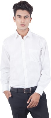 Eden Elliot Men's Striped Formal White Shirt