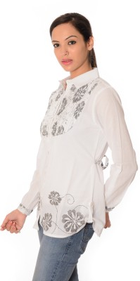Oviya Women,s Floral Print Casual White Shirt