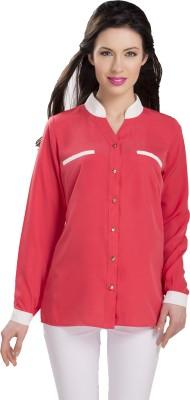 Ishindesignerstudio Women's Solid Casual Pink Shirt
