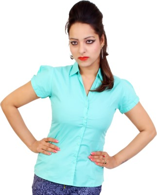 fashion and me Women's Solid Formal Green Shirt