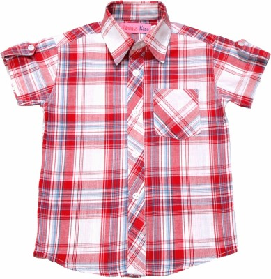 Always Kids Boy's Checkered Casual Red, White Shirt