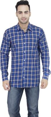 LEAF Men's Checkered Formal Blue, White Shirt