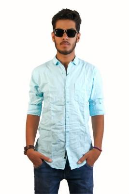 Live Green Men's Self Design Casual Light Blue Shirt
