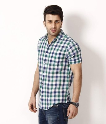 Shiksha Men's Checkered Casual Linen Multicolor Shirt
