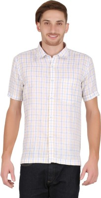 All Times Men's Checkered Casual Linen White Shirt