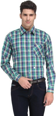 Ausy Men's Checkered Casual Blue, Green Shirt