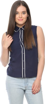 Vvoguish Women,s Solid Casual Dark Blue Shirt
