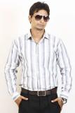 Siera Men's Striped Formal White, Grey S...
