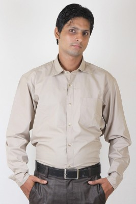 Ignu Men's Solid Casual Brown Shirt