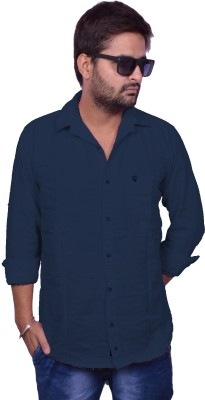 Nation Polo Club Men's Solid Casual Blue Shirt
