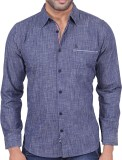 Stoke Men's Solid Casual Blue Shirt