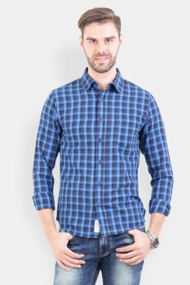 Crocodile Men's Checkered Casual Blue Shirt