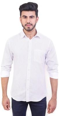 Solzo Men's Polka Print Casual White Shirt