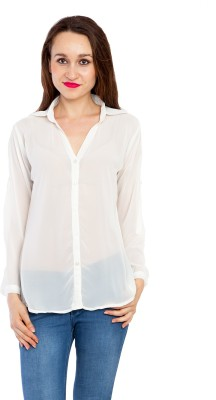 Kridh Women's Printed Casual White Shirt