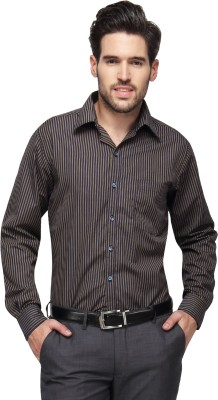 Copperline Men's Striped Casual Black, Yellow Shirt