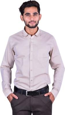Cortos Men's Self Design Formal Beige Shirt