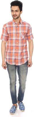 Kalaa Men's Checkered Casual Orange, White Shirt