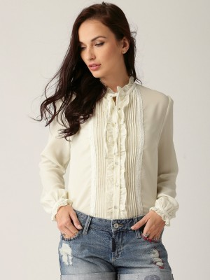 All About You Women's Solid Casual White Shirt