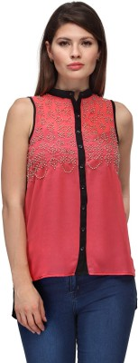 FW Collection Women,s Embellished Casual, Party Orange Shirt