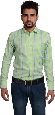 Riwas Collection Men,s Checkered Formal Reversible Light Green, Blue Shirt