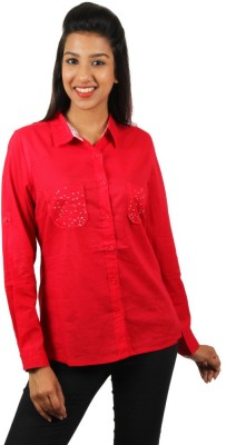 Old Khaki Women's Solid Casual Red Shirt