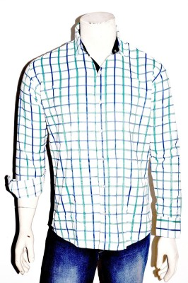 Indian Touch Men,s Checkered Casual White Shirt