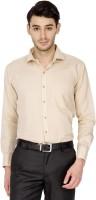Dennison Formal Shirts (Men's) - Dennison Men's Solid Formal Linen Beige Shirt