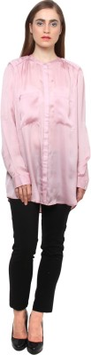 XnY Women's Solid Formal Pink Shirt