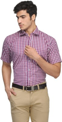 Vicbono Men's Checkered Formal Red Shirt