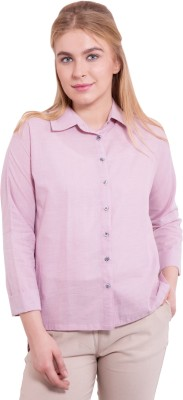 TightHugs Women's Solid Formal Purple Shirt
