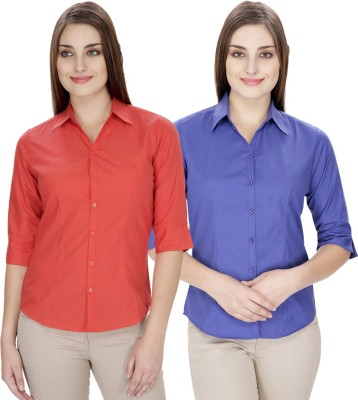 NGT Women's Solid Formal Red, Blue Shirt