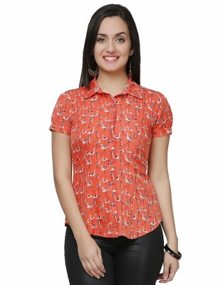 Eavan Women's Animal Print Casual Orange Shirt