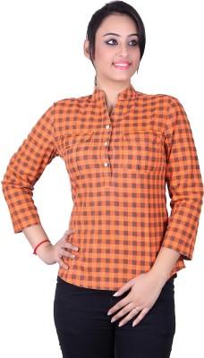 STADO Women's Checkered Casual Denim Orange Shirt