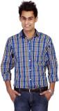 TGM Men's Checkered Casual Blue Shirt