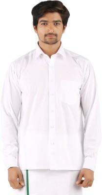 SRS Men's Solid Festive White Shirt
