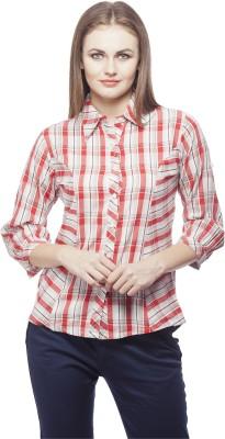 Peptrends Women's Checkered Formal Red Shirt