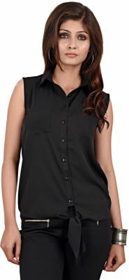 LA ATTIRE Women's Solid Casual, Party Black Shirt